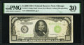 Small Size:Federal Reserve Notes, Fr. 2211-G $1,000 1934 Dark Green Seal Federal Reserve Note. PMG Very Fine 30.. ...