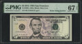 Radar 71355317 Fr. 1996-L $5 2013 Federal Reserve Note. PMG Superb Gem Unc 67 EPQ; Radar 11555511 Fr. 2045-K $10 2017A F...