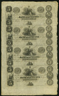 Augusta, GA- Bank of Augusta $5-$5-$5-$5 18__ Uncut Sheet Extremely Fine
