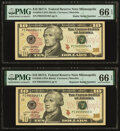 Radar 04555540 Fr. 2045-I $10 2017 Federal Reserve Note. PMG Gem Uncirculated 66 EPQ; Repeater 04550455 Fr. 2045-I $10 2...