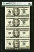 Fr. 2084-L* $20 1996 Federal Reserve Star Notes. Uncut Sheet of Four Notes. PMG Gem Uncirculated 66 EPQ