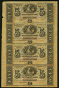 Obsoletes By State:Louisiana, New Orleans, LA- Citizens' Bank of Louisiana $5-$5-$5-$5 18__ Uncut Sheet Choice About Uncirculated.. ...