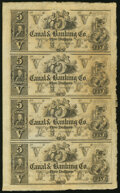 Obsoletes By State:Louisiana, New Orleans, LA- Canal & Banking Co. $5-$5-$5-$5 18__ Uncut Sheet About Uncirculated.. ...