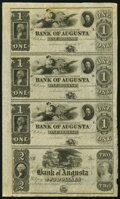 Obsoletes By State:Georgia, Augusta, GA- Bank of Augusta $1-$1-$1-$2 18__ Uncut Sheet About Uncirculated.. ...