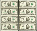 Small Size:Federal Reserve Notes, Fr. 1935-A*; F*; K*; L* $2 1976 Federal Reserve Star Notes. Uncut Sheet of Four. Crisp Uncirculated or Better.. ... (Total: 4 sheets)