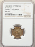 Civil War Patriotics, 1864 Liberty - Our Army, Civil War Token, Fuld-47/332 b, MS66 NGC. ...