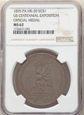 So-Called Dollars, 1876 U.S. Centennial Exposition, Official Medal, Silver, HK-20, MS62 NGC....