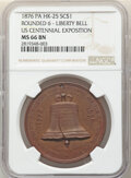 So-Called Dollars, 1876 U.S. Centennial Exposition, Liberty Bell So-Called Dollar, Rounded 6, HK-25, R.5, MS66 Brown NGC. Copper, 38mm....