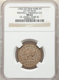 Early American Tokens, (1826) Token Tredwell, Kissam & Co., New York, NY., Rulau-E-NY-921B, R.5, MS63 NGC. Silvered brass, reeded edge, 26mm. Ex: ...