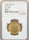 U.S. Merchant Tokens (1845-1860), (1850's) Token M. A. Root, Philadelphia, PA., Miller-PA-433, MS66 NGC. Brass, reeded edge, 29mm. ...
