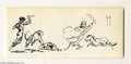 Original Comic Art:Sketches, Frank Frazetta - Arabian Fight Sketch Original Art (undated) A lot of action in this ink sketch -- a male nude with a knife,...