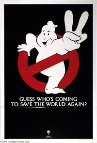 "Ghostbusters (Columbia, R-1989). Advance One Sheet (27"" X 41""). Rerelease advance poster to the Ivan Reitman c..."