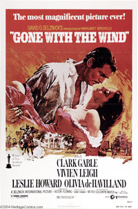 """Gone With the Wind (MGM, R-1980). One Sheet (27"""" X 41""""). Pretty re-issue poster for the classic civil war epic..."""