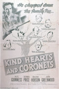 "Movie Posters:Comedy, Kind Heart and Coronets (Eagle-Lion, 1949). One Sheet (27"" X 41"").Robert Hamer directs this black comedy starring Alec Guin..."