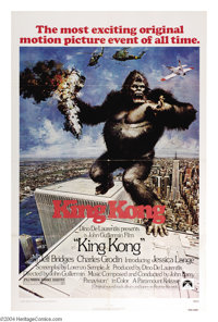 """King Kong (Paramount, 1976). One Sheet (27"""" X 41""""). This poster holds more interest in light of the events of..."""