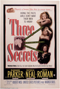 """Three Secrets (Warner Brothers, 1950). One Sheet (27"""" X 41""""). When a five year old boy is the only survivor of..."""