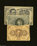 Fractional Currency:First Issue, Three Fractionals.