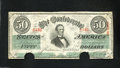 Confederate Notes:1862 Issues, T50 $50 1862. Light handling is viewed on this scarce $50 ...
