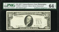 Insufficient Inking Error Fr. 2023-C $10 1977 Federal Reserve Note. PMG Choice Uncirculated 64 EPQ