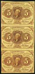 Fr. 1230 5¢ First Issue Uncut Vertical Strip of Three Very Fine