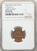 Civil War Patriotics, 1863 Army & Navy, Civil War Token, Fuld-233/312a, MS66 Brown NGC....