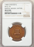 U.S. Merchant Tokens (1845-1860), (1860) Token Baker & Moody Hatters, Chicago, IL., Miller-Ill-7A, MS65 Brown NGC. Brass, reeded edge....