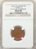 Civil War Merchants, (1861-65) Token J.D. & C.B. Standish Pork & Wool Dealers, Detroit, MI, F-225BY-1a, MS65 Red and Brown NGC. ...