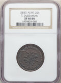 Hard Times Tokens, (1837) Token T. Duseaman, HT-204, R.2, XF40 NGC. Copper, plain edge, 28 mm....