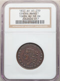 Hard Times Tokens, 1837 Token Closed Mouth, Centre Market, New York, NY., HT-239, R.1, AU58 NGC. Copper, plain edge, 28mm. ...