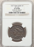 Hard Times Tokens, 1837 Token Ezra B. Sweet, HT-335, R.3, VF20 NGC. Copper, thick planchet, plain edge, 28.5mm....