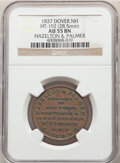 Hard Times Tokens, 1837 Token Haselton & Palmer, Dover, NH., HT-192, R.4, AU55 NGC. Copper, plain edge, 28.5 mm....