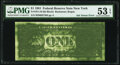 Error Notes:Ink Smears, Green Ink Smear on Back Error Fr. 1911-B $1 1981 Federal Reserve Note. PMG About Uncirculated 53 EPQ.. ...