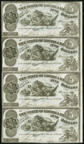 Obsoletes By State:Louisiana, Shreveport, LA- State of Louisiana $5-$5-$5-$5 Mar. 10, 1863 Uncut Strip of Four Extremely Fine.. ...