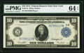 Large Size:Federal Reserve Notes, Fr. 911b $10 1914 Federal Reserve Note PMG Choice Uncirculated 64 EPQ.. ...