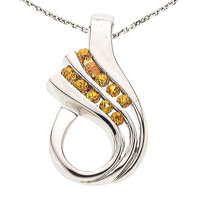 Yellow Sapphire, White Gold Pendant-Necklace