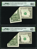 Error Notes:Foldovers, Printed Fold Error Fr. 1910-K $1 1977A Federal Reserve Notes. Two Consecutive Examples. PMG Choice Uncirculated 64 EPQ; Choice... (Total: 2 notes)