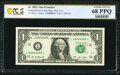 Solid Serial Number 88888888 Fr. 3001-L $1 2013 Federal Reserve Note. PCGS Banknote Superb Gem Unc 68 PPQ