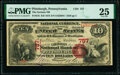 National Bank Notes:Pennsylvania, Pittsburgh, PA - $10 1875 Fr. 416 The German National Bank Ch. # 757 PMG Very Fine 25.. ...