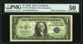 Error Notes:Offsets, Full Back to Face Offset Error Fr. 1614 $1 1935E Silver Certificate. PMG About Uncirculated 50.. ...