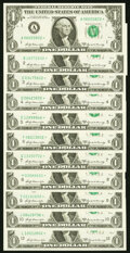 Small Size:Federal Reserve Notes, Complete District Star Set Fr. 1904-A*-J*; L* $1 1969A Federal Reserve Star Notes. Choice Crisp Uncirculated or Better.. ... (Total: 11 notes)