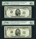 Small Size:Federal Reserve Notes, Fr. 1961-B $5 1950 Narrow Federal Reserve Note. PMG Gem Uncirculated 65 EPQ;. Fr. 1961-D $5 1950 Wide I Federal Reserve No... (Total: 2 notes)