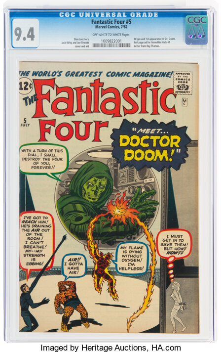 Fantastic Four #5 (Marvel, 1962) CGC NM 9.4 Off-white to white pages....