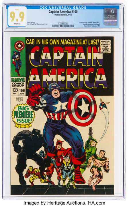 Captain America #100 (Marvel, 1968) CGC MT 9.9 White pages....