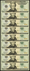 Fancy Serial Numbers Fr. 7000-L $20 2017 Federal Reserve Notes. Nine Examples. Choice Crisp Uncirculated. ... (Total: 9...