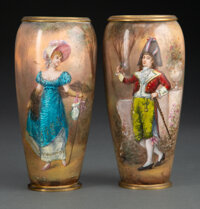 A Pair of French Enameled Cabinet Vases, last quarter 19th century 6-1/8 x 2-7/8 inches (15.6 x 7.3 cm)
