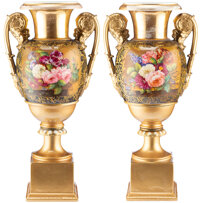 A Pair of Continental Partial Gilt Porcelain Two-Handled Vases, 19th century 21-3/4 x 10 x 7 inches (55.2 x 25.4 x