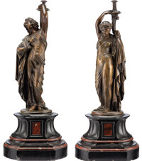 After Jean-Jecques Pradier (French, 1792-1852) Pair of Figural Lamp Bases, third quarter of 19th century Patinated bro...