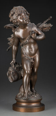 After August Moreau (French, 1834-1917) Cupid Patinated bronze 18-1/2 inches (47.0 cm) Signed