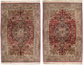 Decorative Accessories, A Pair of Persian Silk Carpets, 20th century. 108 x 73 inches (274.3 x 185.4 cm) (each). ... (Total: 2 Items)