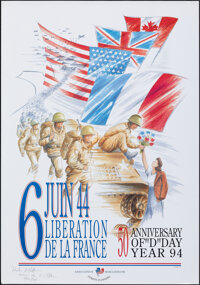 6 Juin 44: Liberation de la France (Association France Etats-Unis, 1994). Rolled, Very Fine/Near Mint. Signed French D-D...